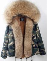 Fashion woman army green Large raccoon fur collar hooded coat parkas outwear detachable real fur lining winter jacket