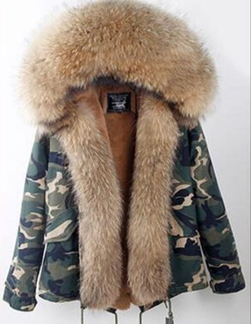 Fashion woman army green Large raccoon fur collar hooded coat parkas outwear detachable real fur lining winter jacket zoe saldana 2017 winter jacket women detachable lining natural large fur hooded army green cotton coat outwear thick warm parkas