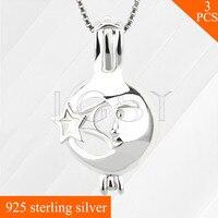 LGSY Yıldız ve Ay Özellikleri ile Kadın Takılar 925 Ayar Gümüş Locket Kafes Kolye yapımı için Inciler Kolye 3 adet