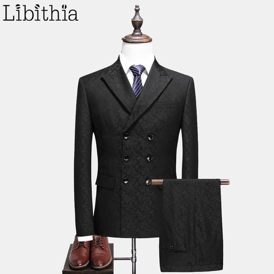 男性スーツ3ピーススーツダブルブレストブレザージャケットコートパンツベスト無地黒s-5xlスリムフィットドレス結婚式パーティーt135