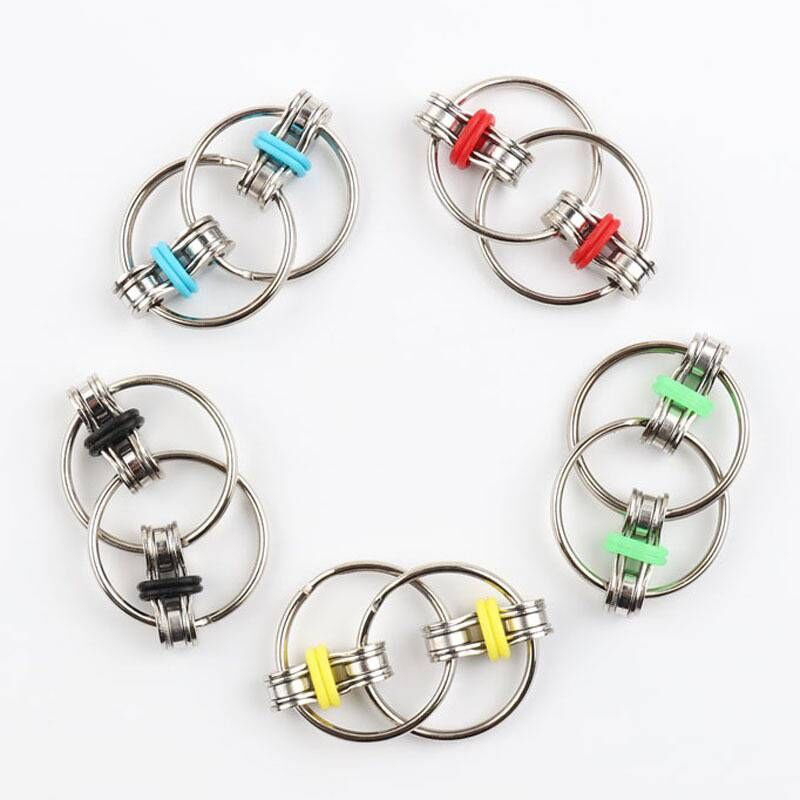 Fidget-Toy Key-Ring Top-Puzzles Hand-Spinner Sensory Toys Autism ADHD Metal Chain Stress-Relieve img2