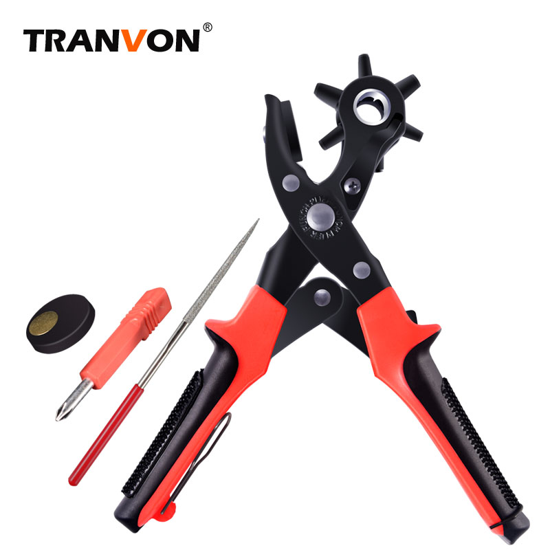 1pc Quality Household Belt Hole Puncher Leather Punchers Tools Holes Punch Machine 3-in-1 Hand Pliers Tool With 5 Hole Sizes Sturdy Construction Home & Garden Punching