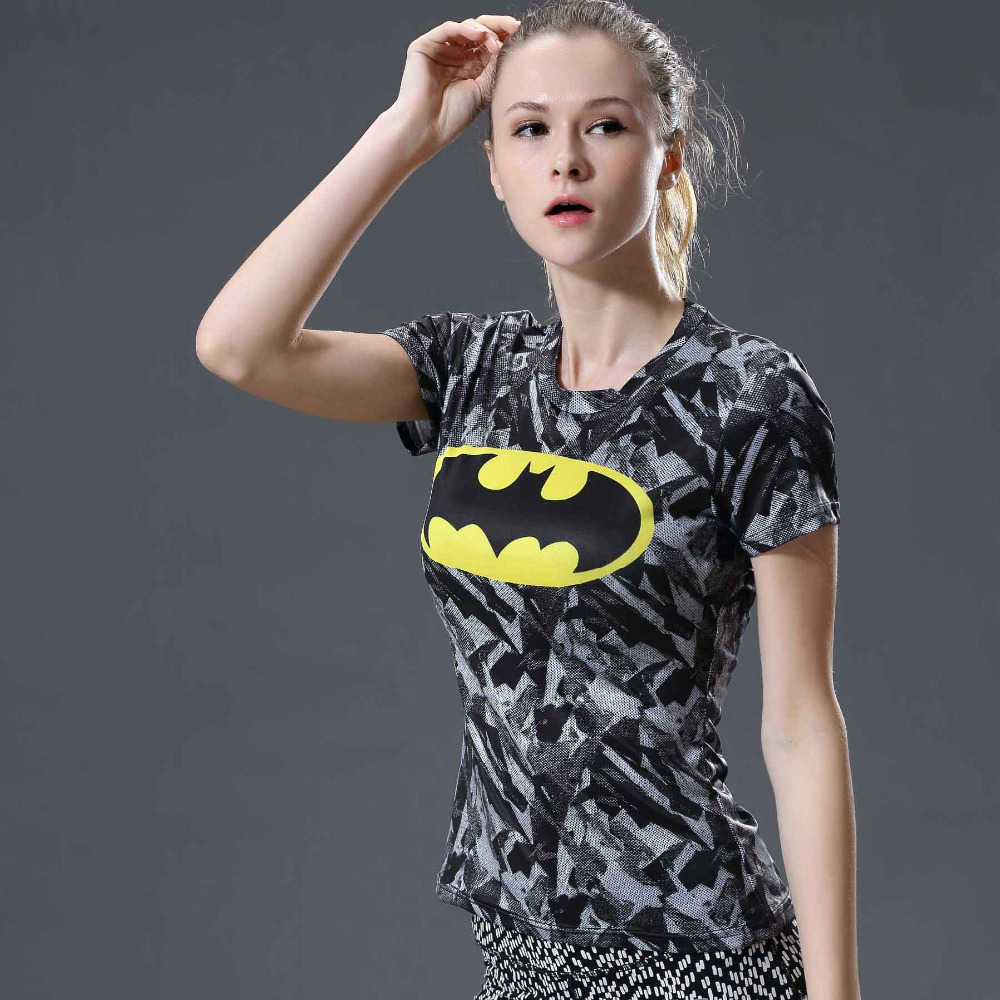 HOT WOMEN T-SHIRT BODYS CAPTAIN AMERICA /batman COMPRESSION T SHIRT GIRL FITNESS TIGHTS TOPS Bodybuilding Crossfit tshirts