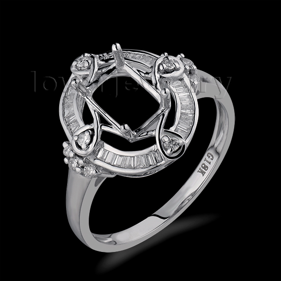 Sólidos 18Kt Ouro Branco Diamante Natural Ajuste do Anel, Semi Monte Anel  de Noivado Esmeralda Corte 5x7mm Para venda WU268 3f7d3fc22d