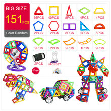 151PCS BIG SIZE Magnetic Designer Construction Set Model & Magnent Toy Triangle Square Constructor Plastic Boys Girls Gift(China)