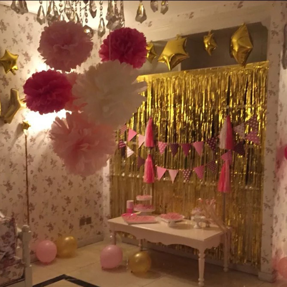 gold foil fringe curtain 1 2m door curtains tinsel shining party wedding birthday marriage gathering decoration hg0198