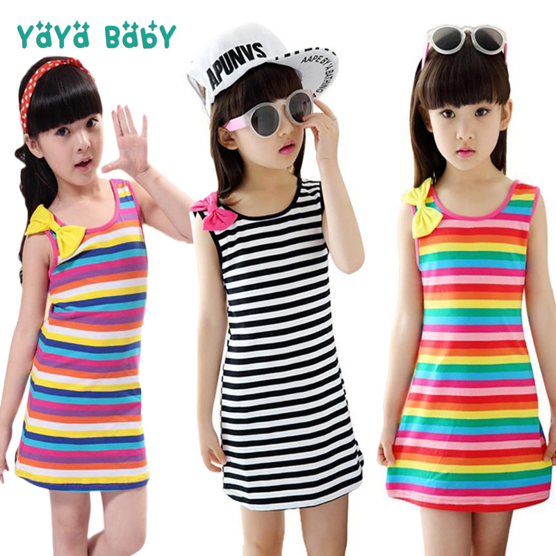 2 3 4 5 6 7 8 9 10 11 12 Year Girls Clothes Striped Sleeveless Kids Dresses for Girls Summer Cotton Baby Teens Children Clothing teenage girls dresses summer style sleeveless denim dress for girls clothing teens sundress kids clothes 2 4 6 8 10 12 14 15 y