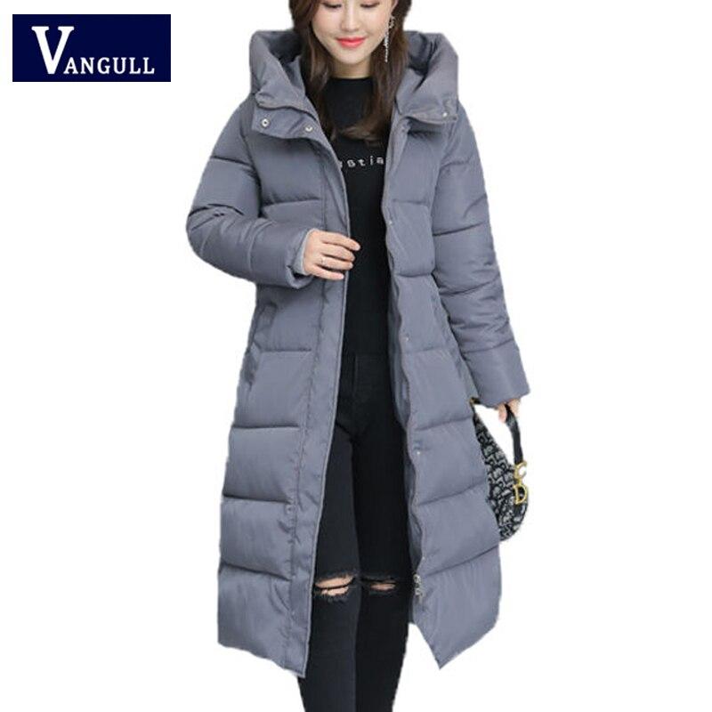 Женские парки Vangull, повседневные куртки с капюшоном и длинным рукавом, теплая однотонная Длинная Верхняя одежда на молнии, большие размеры, ...