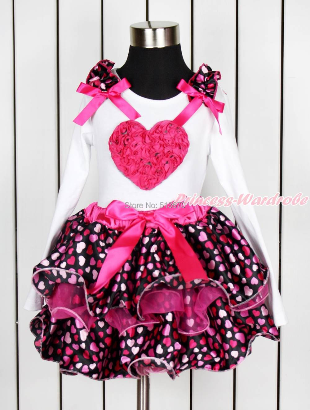 ФОТО Valentine Hot Pink Rose Heart White Top Hot Pink Heart Petal Pettiskirt NB-8Year MAPSA0147