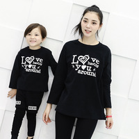 Mother Daughter Son Pullovers Letter Love Printing Black Long Sleeve Shirts Cotton Family Look Soft Comfortable