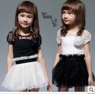 2013 5Pcs/Lot Girl's One Piece Dress Summer Short Sleeve Black White Dress Girl's Veil Dress Baby Veil Dress