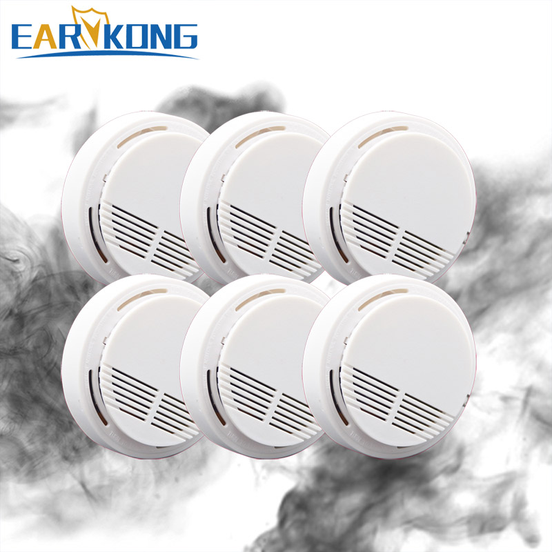 Hot Selling Wireless Smoke Detector, Fire Alarm Sensor, For Indoor Home Safety Garden Security, 6 Pieces, Smoke Alarm Detectors