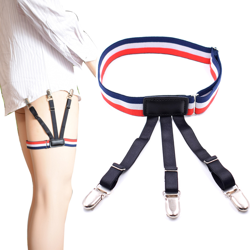 Sock Holder Shirt Stays Holder Man's Leg Suspenders Fashion Shirt Braces Elastic Uniform Business Strap Shirt Garters 1pair