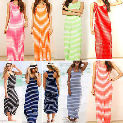 Sexy Women Summer Boho Long Maxi Dress Beach Sleeveless Tank Dresses Plus SIZE Striped Cotton Femme VestidosS M L XL XXL