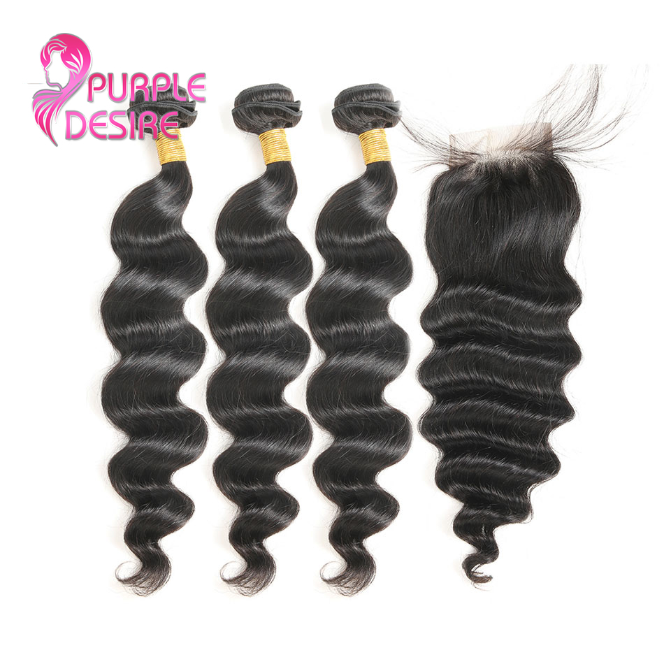 3 Bundes Loose Wave Lace Closure Free Middle Three Part 4PCS Malaysian Human Hair Bundles With Closure Non Remy Hair Extension