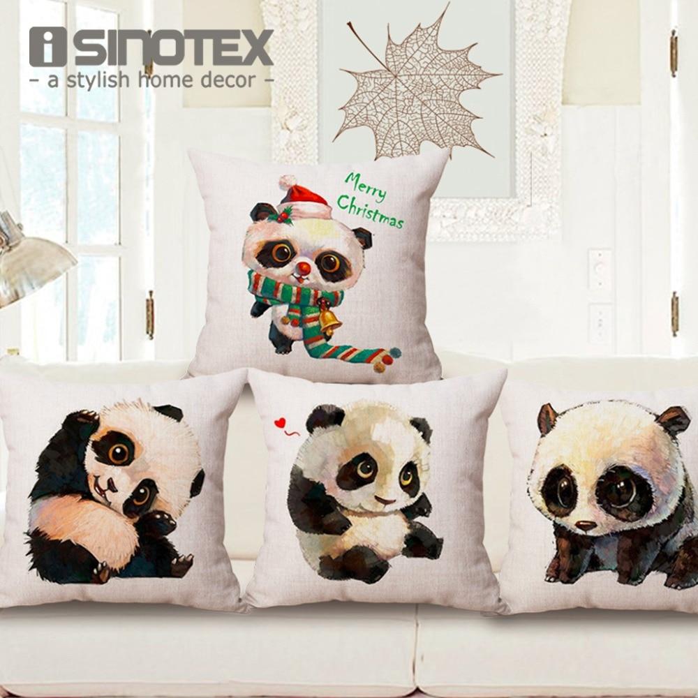 Kusyen Cover Cute Panda Kapas Linen Bantal Bantal Kes Bayi Bilik Dekorasi Sofa Kerusi Seat 45 * 45Cm / 17.7 * 17.7 '' Selamat Hari Krismas