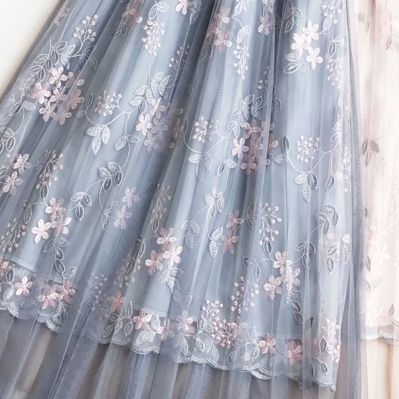 2019 summer women new Korean version of the skirt small embroidered embroidery high waist A word long skirt fairy mesh skirt in Skirts from Women 39 s Clothing