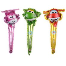 цена 1pc Babyshower Super Wings Balloons Stick Birthday Party Decorations Kids Gender Reveal Foil Globos Kid's Party Gift Supplies в интернет-магазинах