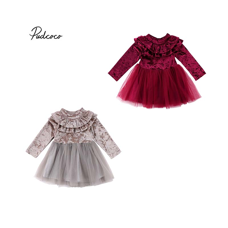Pucoco 2018 Toddler Princess Kids Baby Girls Dress Velvet Fleece Gown Ruffle Party Pageant Prom Tulle Tutu Dress Autumn Outfit christmas dress toddler kids baby girls clothes dress princess prom dress xmas striped party pageant tutu dresses