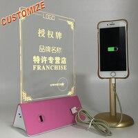 3D Визуальный креатсветодио дный ивный светодиодный акриловый меню карта настольная лампа Powe Bank ночник украшение лампа светодио дный свето