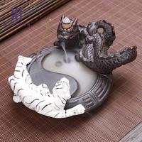 Funny Dragon and White Tiger Fighting Backflow Incense Burner Fengshui Figure Creative Home Decoration Censer