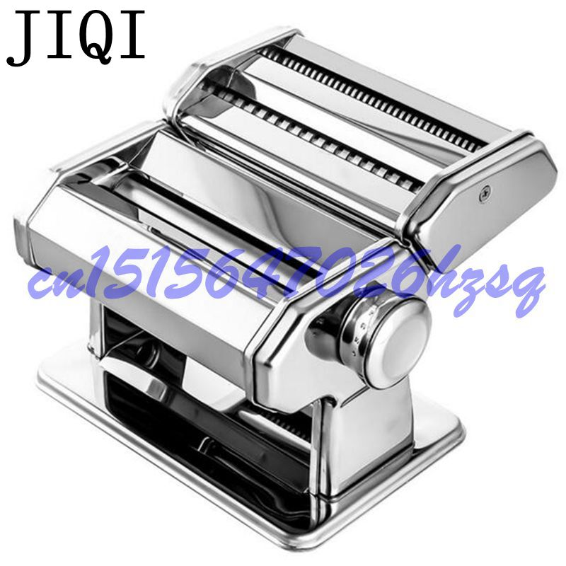 JIQI Manual noodles machine Stainless Steel Hand Crank 2 Blades Pasta Making Machine Hand Operated Spaghetti Pasta Cutter Noodle jiqi stainless steel household rolling dough pressing maker manual noddle pasta machine hand dumpling wrappers wonton machine