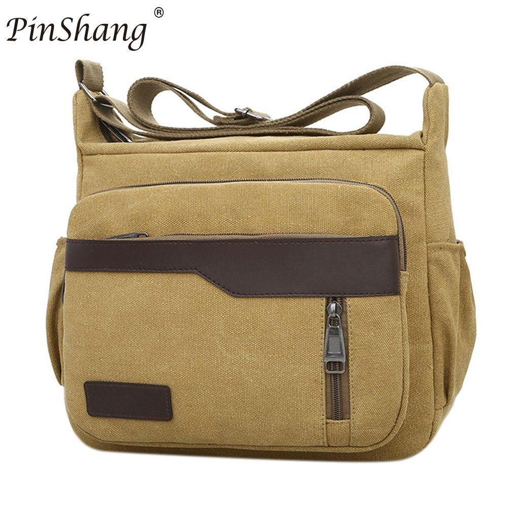 PinShang Men canvas bag handbag men women oblique satchel bags men messenger bag shoulder bagmore sturdy and durable ZK30 casual canvas women men satchel shoulder bags high quality crossbody messenger bags men military travel bag business leisure bag