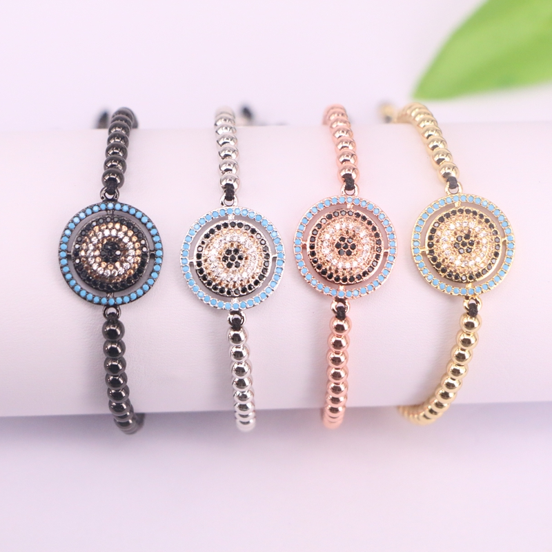 Trendy 10Pcs New Style Micro Pave CZ Round Connector & Copper Beads Braiding Macrame Adjustable Men Women Jewelry