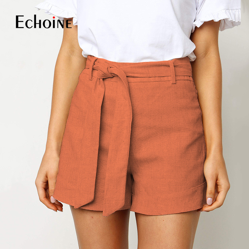 Linen Shorts High-Waist Cotton Women Female Summer Casual New Thin Loose Holiday-Sashes