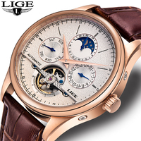 LIGE Men watches Brand Automatic mechanical watch tourbillon Sport clock leather Casual business wristwatch Gold relojes hombre
