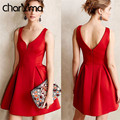 charMma Europe Summer Women Everning Party Mini Dress Sexy Backless High Waist Pleated Vestido Sleeveless Club Wear Red Sundress