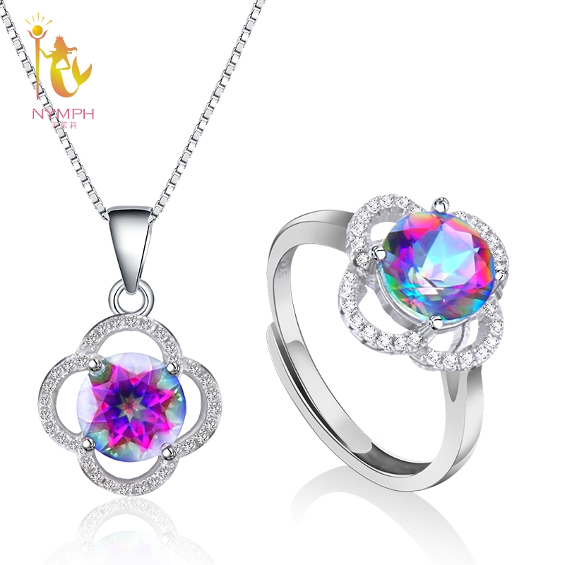 NYMPH Crystal Jewelry Set Pendant Ring Necklace 925 Silver Genuine Gem Stone Cool Trendy For Women Girl Rose T238DJ trendy faux gem oval necklace for women