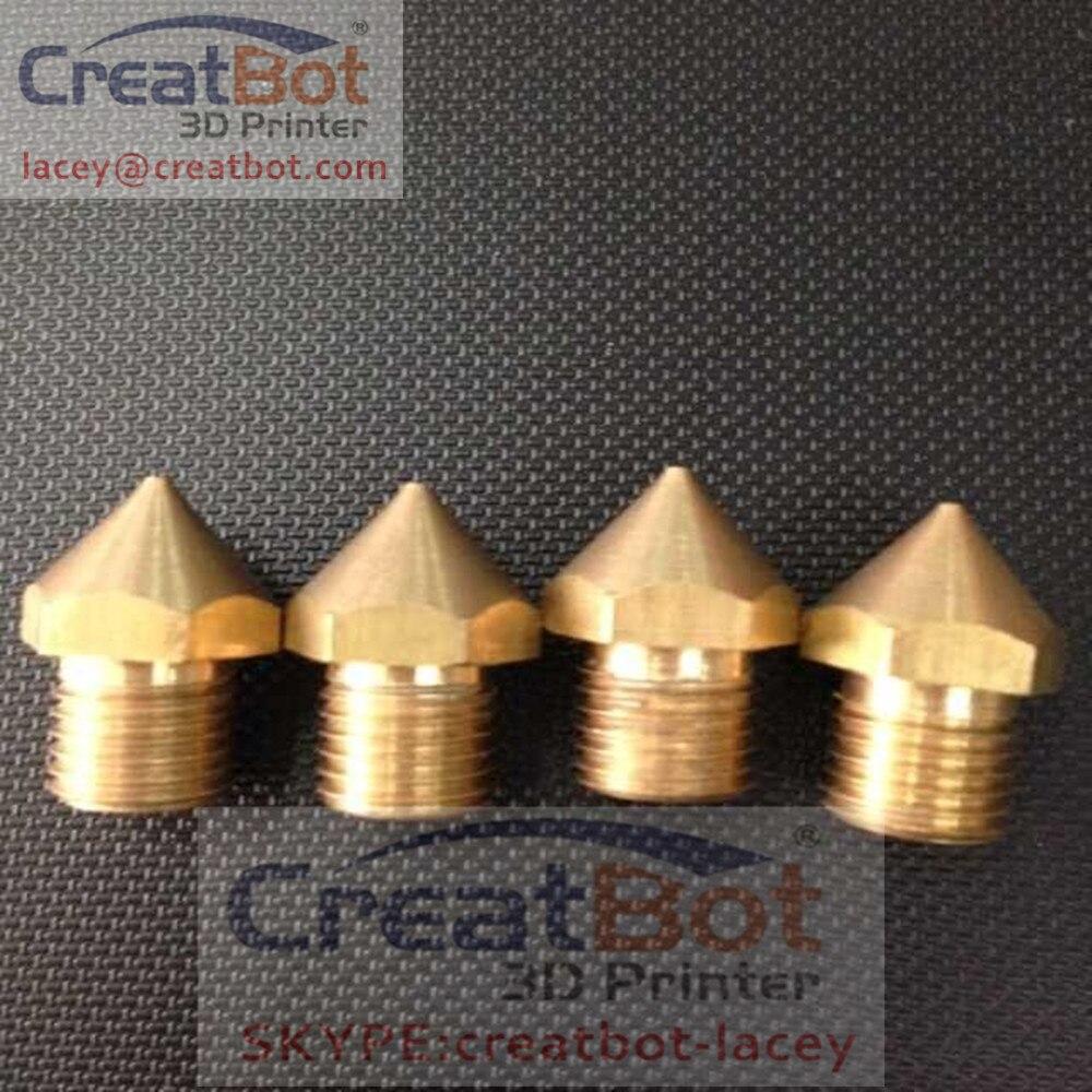 ( 5 pcs/ lot) 0.4mm Peek Brass FDM Printer Nozzle /Extruder CreatBot printer triple extruder parts DIY 0.5mm 1.0mm available