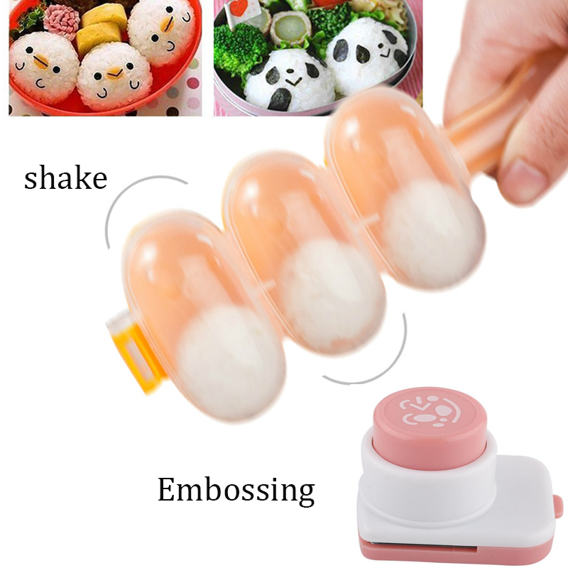 3pcs/set Rice Ball Molds DIY Ball Shape Sushi Maker+Face Expression Cutter+spoon Cutter Mould Rice Ball Kitchen Mold Tools