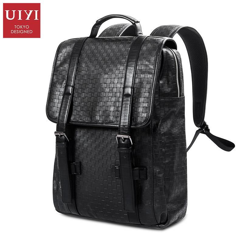 все цены на UIYI Backpack Men PU Leather Travel Vintage Laptop Backpacks Rucksack School Book Bag Shoulder Satchel Bags Weave 160221 онлайн
