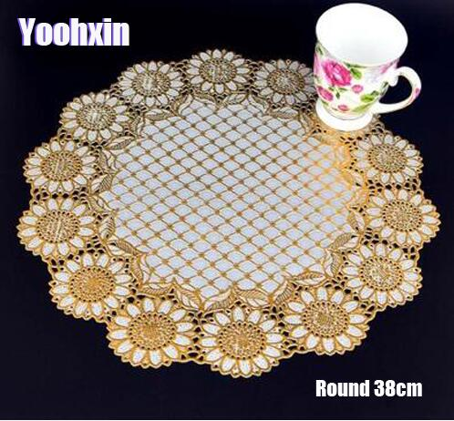 Modern lace PVC Gold plastic table place mat pad cloth cup wedding dining tea coffee coaster placemat mug doily drink kitchen