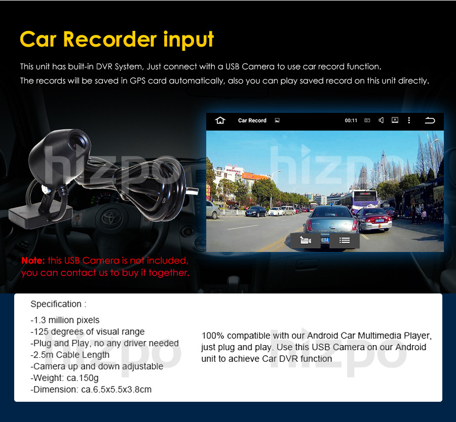 imágenes para Monitor del coche del USB cámara Del Coche DVR grabador de vídeo Digital USB frontal CMOS HD para Android 7.1 Android 6.0 Android 5.1 del coche DVD jugadores
