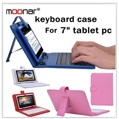 NEW HOT Selling 7 inch Universal Leather Case Cover with General USB Keyboard For Tablet PC Black Color