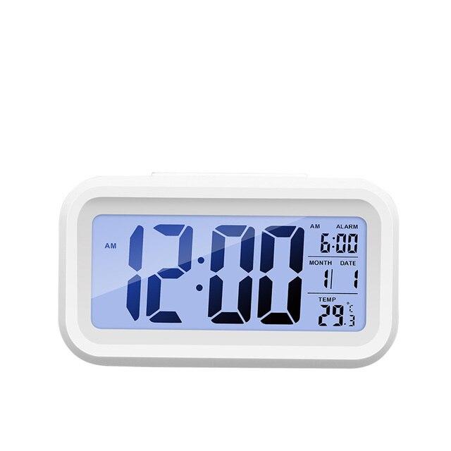 מעורר דיגיטלי שעון זמן נתונים LCD תצוגת פונקציה נודניק אלקטרוני תאורה אחורית חיישן מנורת לילה משרד שולחן תלמיד ילדי שעון 1