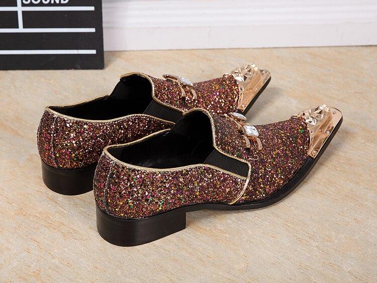 Colores Pic Flats Hombre Marrón De Calzado Oxfords Vestido Hombres Casual Glitter 2018 En As Resbalón Los Mocasines Lentejuelas Zapatos Cuero 1wPwnOzHp