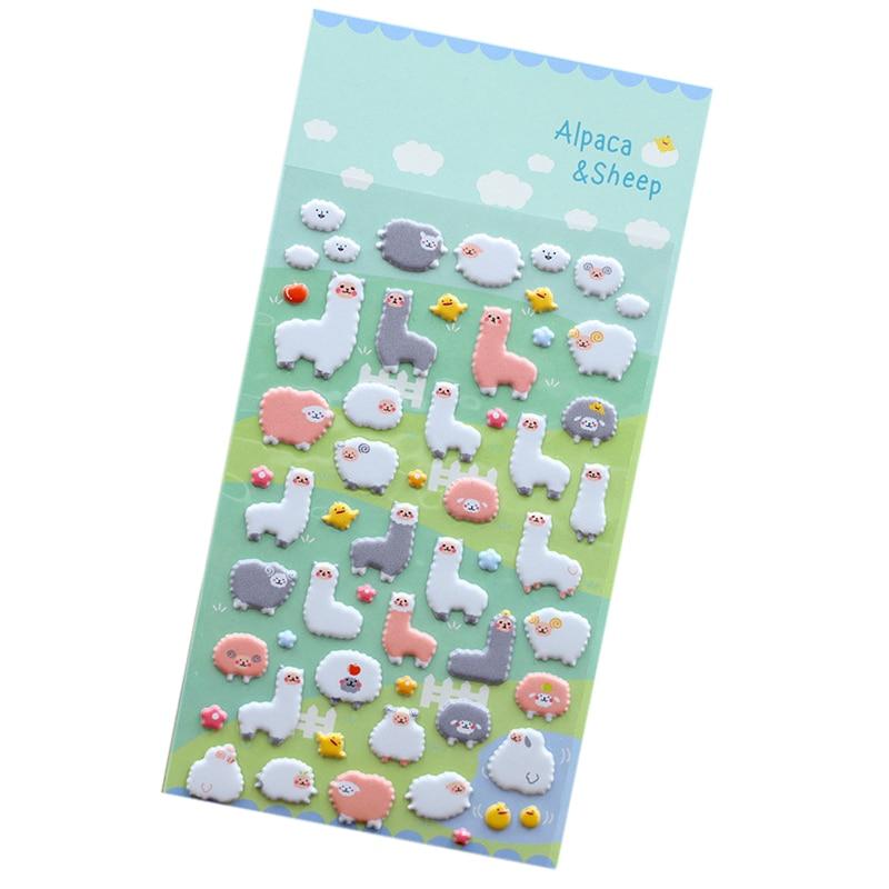 1Pcs Sheet Korea Styling Kawaii 3d Cartoon Sheep Alpaca Pvc Diary Bubble Stickers Decorative For Notebook Albums Card Paper