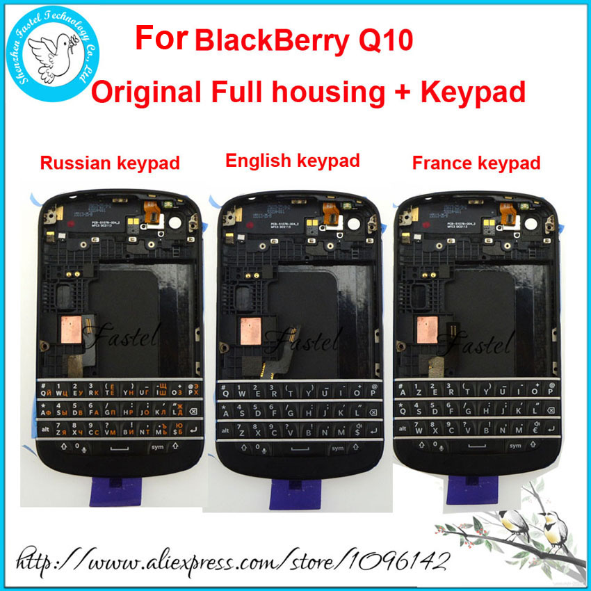 For BlackBerry Q10 Original New Full Complete Mobile Phone Housing + Frame Cover Case + Russian France English Keypad With Flex