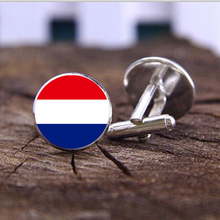 Hot World flag Cufflinks Silver Dutch national flag Cuff links for men and women jewelry Vintage round glass Cuff Accessories