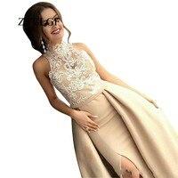ZYLLGF Vestido De Festa Para Mae De Noiva Open Leg Long Floor Length High Neck Wedding Guest Dress With Appliques LFB36