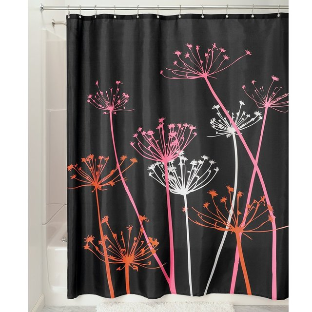 Warm Tour Thistle Black Pink Fashion Shower Curtain Polyester Hotel Bathroom With Hooks