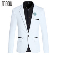 MOGU White Blazer For Men One Button Closure Slim Fit Men Blazers Plus Size Casual Blazer Jacket Masculino Blazer Men