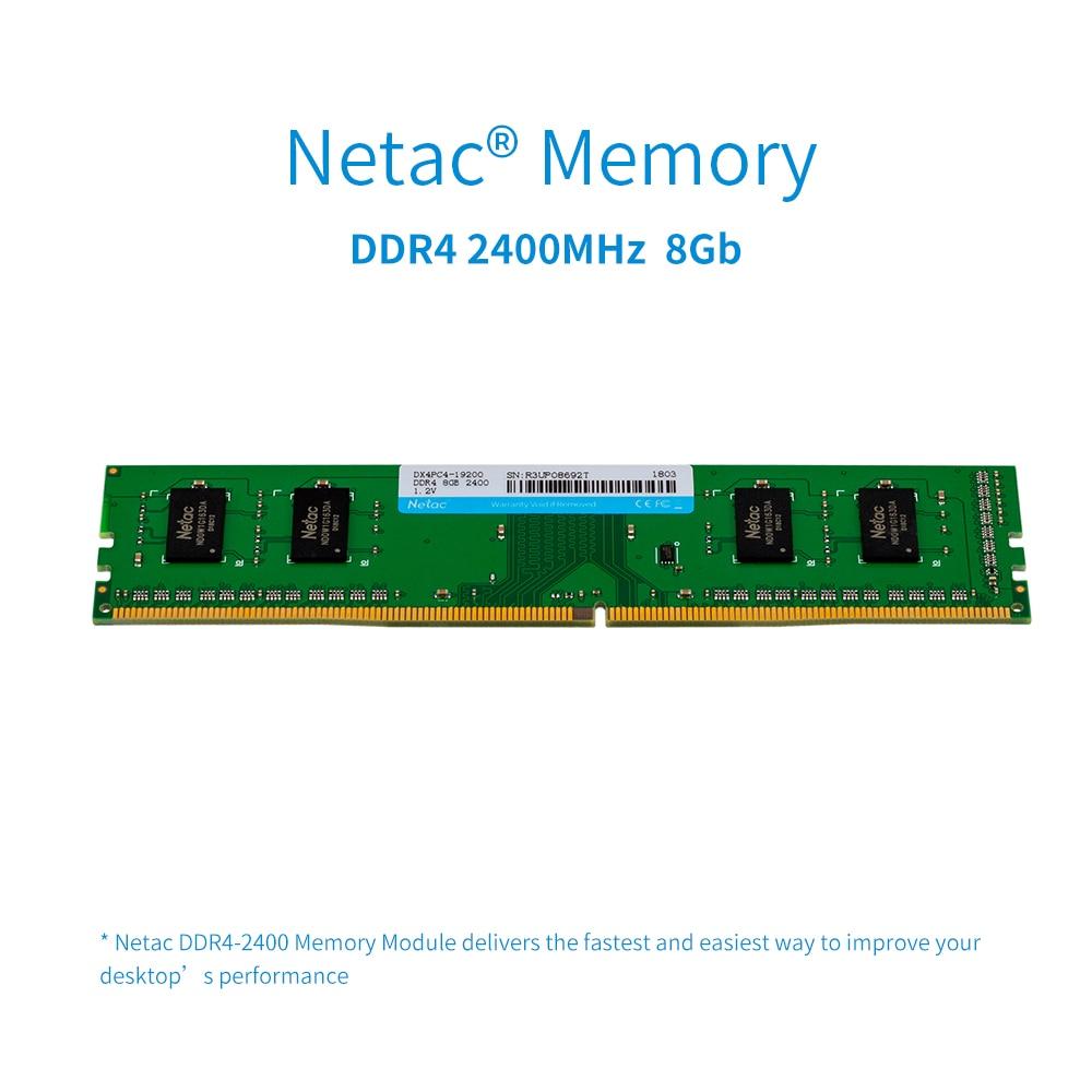 цена на Netac DDR4 RAM Memory 8GB 2400MHz MT/s 1.2V PC4-19200 UDIMM 288-pin ddr4 memoria ram for Desktop PC gaming RAM high speed