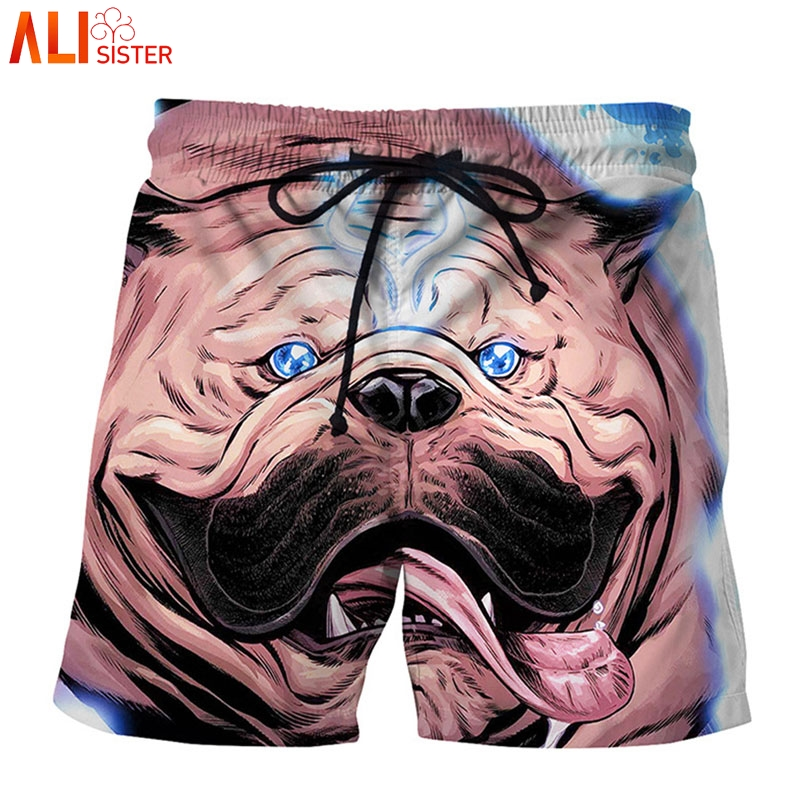 Alisister Funny Bulldog Print 3d   Shorts   Men Summer Beach   Board     Shorts   Casual Male Individuality Sportswear Masculina Trousers