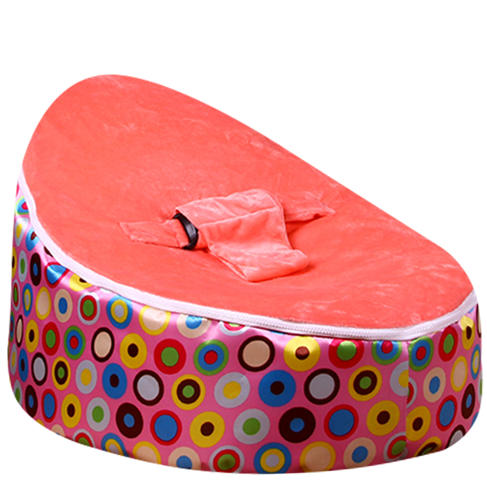Levmoon Medium Pink Circl Beanbags Bean Bag Chair Kids Bed For Sleeping Portable Folding Child Seat Sofa Zac Without The Filler