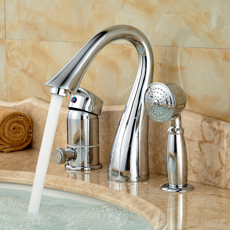 Chrome Polished Widespread Bathtub Faucet One Handle Tub Mixer Tap